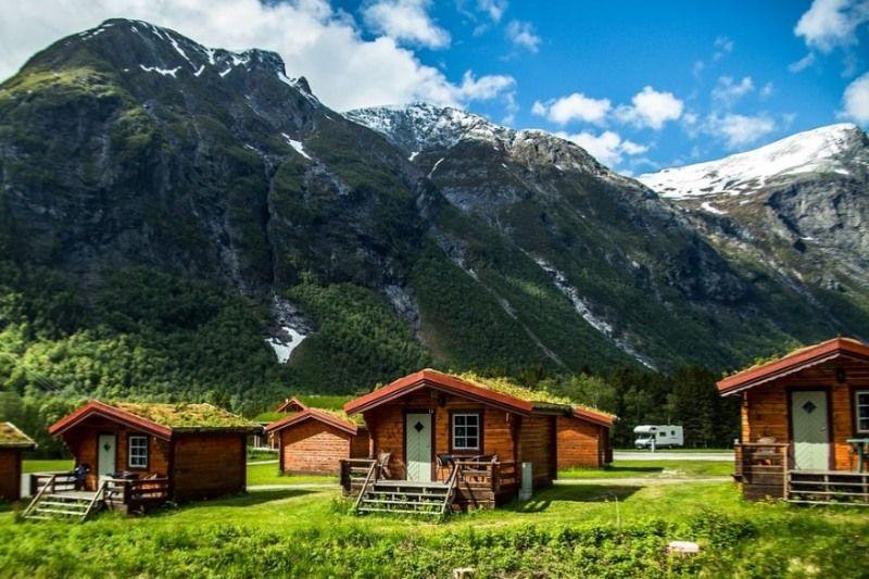 PlusCamp Trollstigen Camping og Gjestegard hytter en prachtig uitzicht